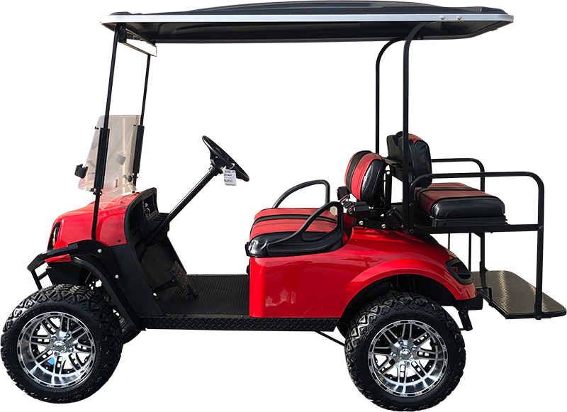 2018 EZGO TXT Flame Red Lifted Electric Certified Pre-Owned (2015)